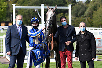 Winner of The PKF Francis Clark British EBF Novice Stakes (Plus 10) (Div 1) Bellocio  ridden by David Egan and trained by David Menuisier  in the Winners enclosure during Horse Racing at Salisbury Racecourse on 1st October 2020