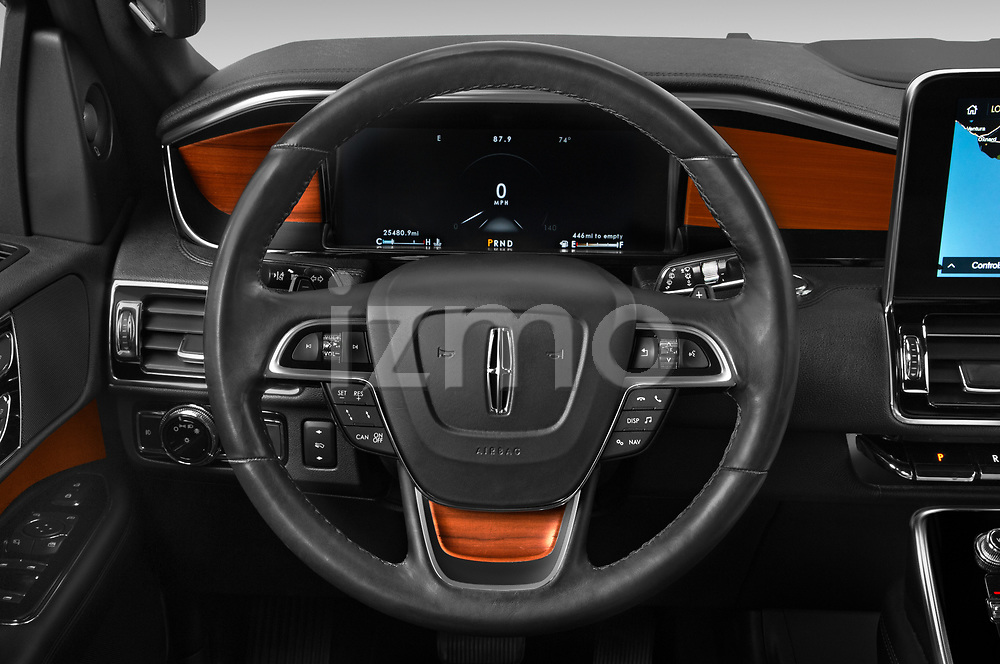 Car pictures of steering wheel view of a 2020 Lincoln Navigator Reserve-L 5 Door SUV Steering Wheel