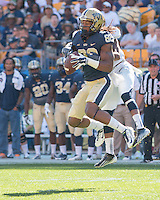 Pitt wide receiver Manasseh Garner (82) hauls in a pass. The Akron Zips Defeated the Pitt Panthers 21-10 at Heinz Field, Pittsburgh. Pennsylvania on September 27, 2014.