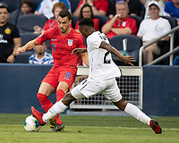 KANSAS CITY, KS - JUNE 26: Francisco Palacios #2 and Daniel Lovitz #16 battle for the ball during a game between Panama and USMNT at Children's Mercy Park on June 26, 2019 in Kansas City, Kansas.