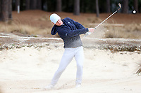 PINEHURST, NC - MARCH 02: Peter Fountain of the University of North Carolina hits out of a sand trap on the fifth hole at Pinehurst No. 2 on March 02, 2021 in Pinehurst, North Carolina.