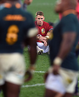 Liam Williams - British & Irish Lions full back sits dejected after the Lions were defeated 19-16 in the third test as the Springboks win the series 2-1.<br /> British & Irish Lions v South Africa,  3rd Test, Cape Town Stadium, Cape Town, South Africa,  Saturday 7th August 2021. <br /> Please credit: FOTOSPORT/DAVID GIBSON