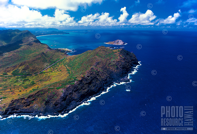 Aerial view of Makapuu point and Makapuu lighthouse. Located along windward coast of Oahu near Sealife park,Makapuu Beach, and the town of Waimanalo