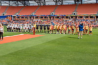 Houston, TX - Sunday March 25, 2018: Chicago Red Stars and Houston Dash starting lineups during a regular season National Women's Soccer League (NWSL) match between the Houston Dash and the Chicago Red Stars at BBVA Compass Stadium. The game ended in a 1-1 draw.