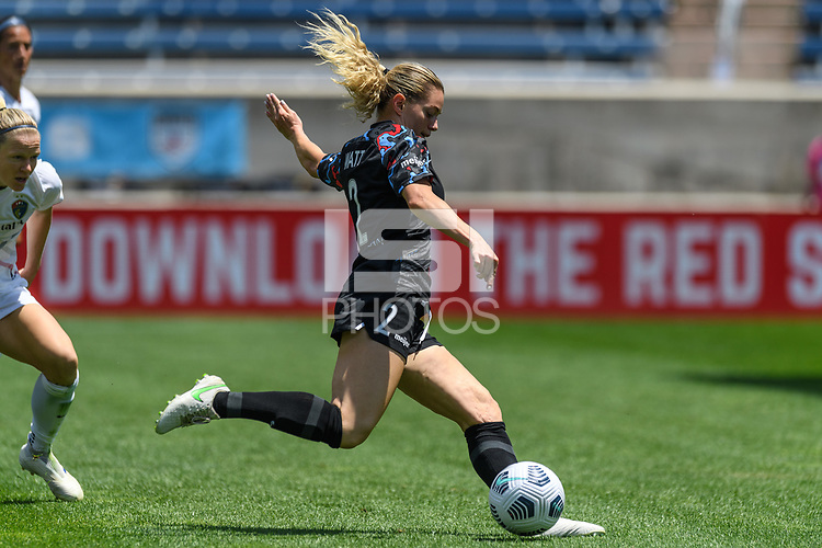 BRIDGEVIEW, IL - JUNE 5: Kealia Watt #2 of the Chicago Red Stars shoots the ball during a game between North Carolina Courage and Chicago Red Stars at SeatGeek Stadium on June 5, 2021 in Bridgeview, Illinois.