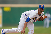 Rancho Cucamonga Quakes relief pitcher Imani Abdullah (41) follows through on his delivery against the Modesto Nuts at LoanMart Field on May 2, 2018 in Rancho Cucamonga, California. The Nuts defeated the Quakes 11-4.  (Donn Parris/Four Seam Images)