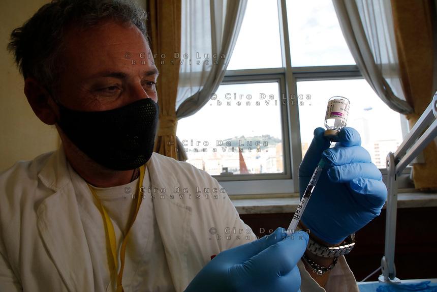 A vial of the AstraZeneca coronavirus disease (COVID-19) vaccine is seen, in Vaccine Center of Stazione Marittima in Naples