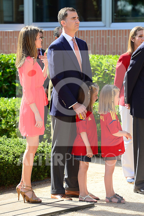 King Juan Carlos, Prince Felipe, Princess Letizia, Princess Elena, Princess Leonor and Princess Sofia attends an audience with Spanish Football Team, winner of Eurocup 2012 at Zarzuela Palace in Madrid..(Alterphotos/Pool)