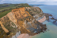 BNPS.co.uk (01202) 558833<br /> Pic: James Loveridge/BNPS<br /> <br /> With video.... https://we.tl/t-2Dr584wNlE<br /> <br /> Fossil hunters hoping for a bonanza of ancient rocks are being urged to stay away from a massive 4,000 tonne rockfall on the historic Jurassic Coast.<br /> <br /> A huge chunk from a 430ft sandstone cliff gave way on Monday night causing boulders the size of cars to plummet near Seatown in Dorset.<br /> <br /> The resulting mound of rubble has completely blocked a picturesque sandy beach but experts are imploring members of the public to keep their distance for safety reasons.