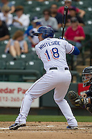 Round Rock Express catcher Eli Whiteside #18 at bat against the New Orleans Zephyrs in the Pacific Coast League baseball game on April 21, 2013 at the Dell Diamond in Round Rock, Texas. Round Rock defeated New Orleans 7-1. (Andrew Woolley/Four Seam Images).
