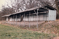 Covered terracing at Moor Green Football Club, The Moorlands, Sherwood Road, Hall Green, Birmingham pictured on 30th January 1988
