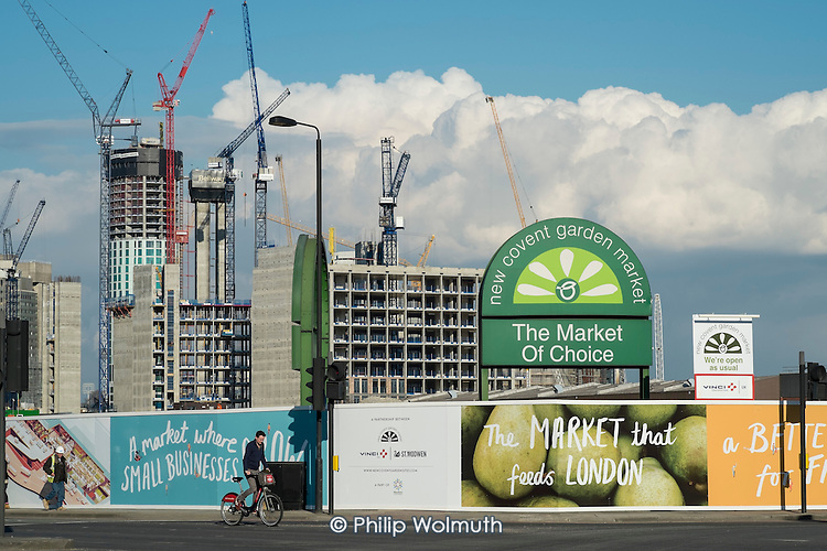 New Covent Garden fruit and vegetable market in the 480 acre Nine Elms regeneration zone, London.  The zone will include two new tube stations, a new US Embassy building, and 20,000 new  homes with prices up to £9 million.