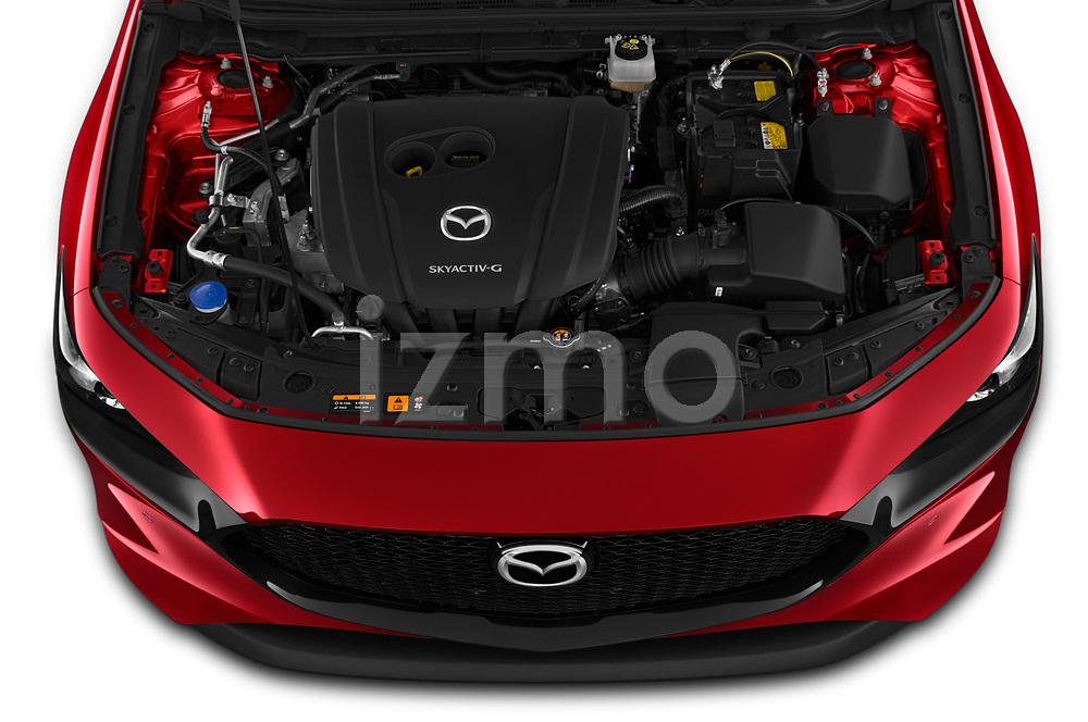 Car stock 2019 Mazda Mazda3 Skycruise 5 Door Hatchback engine high angle detail view