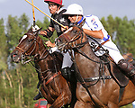 WELLINGTON, FL - APRIL 15:  Agustin Obregon of Palm Beach Illustrated (dark jersey) and Pablo Spinach of Valiente fight for control of the line in the $100,000 World Cup Final, at the Grand Champions Polo Club, on April 15, 2017 in Wellington, Florida. (Photo by Liz Lamont/Eclipse Sportswire/Getty Images)