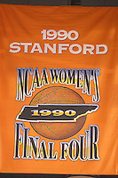 6 April 2008: Stanford Cardinal national championship banners during Stanford's 82-73 win against the Connecticut Huskies in the 2008 NCAA Division I Women's Basketball Final Four semifinal game at the St. Pete Times Forum Arena in Tampa Bay, FL.