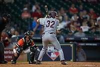 Hunter Vansau (32) of the Mississippi State Bulldogs at bat against the Sam Houston State Bearkats during game eight of the 2018 Shriners Hospitals for Children College Classic at Minute Maid Park on March 3, 2018 in Houston, Texas. The Bulldogs defeated the Bearkats 4-1.  (Brian Westerholt/Four Seam Images)