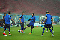 Georgios Samaras of Greece in action during the training session ahead of tomorrow's fixture vs Costa Rica
