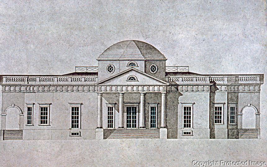 Thomas Jefferson: Monticello, west elevation. Final version drawn by Robert Mills.