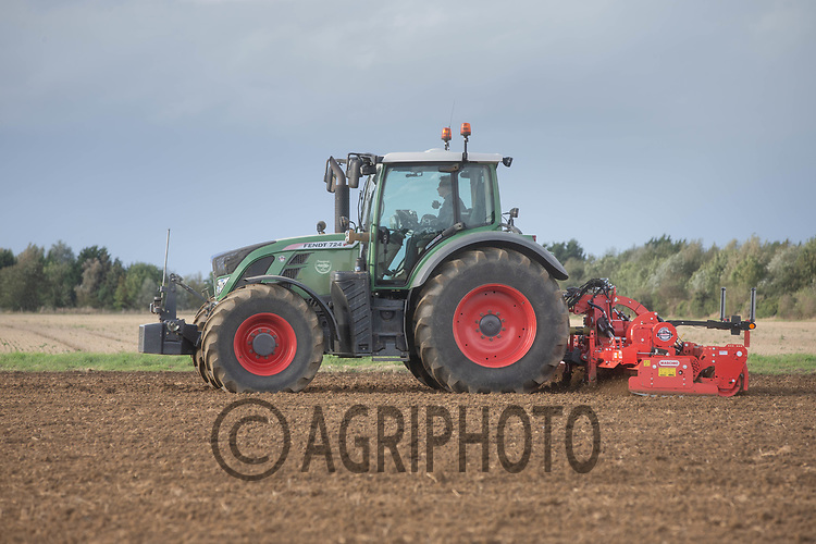 4-10-2021 Power harrowing before drilling Winter barley<br /> ©Tim Scrivener Photographer 07850 303986<br />      ....Covering Agriculture In The UK....