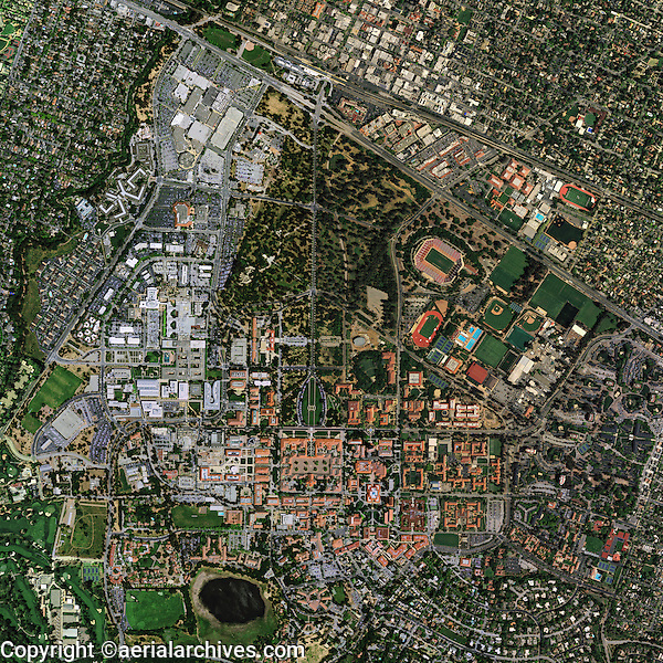 aerial photo map Stanford University, Palo Alto, California, 2011.  <br /> <br /> To obtain current or historical aerial photography of Stanford for a specific project, please submit our research request form available at:<br /> <br /> http://www.aerialarchives.com/download/GeoResearchForm.pdf.