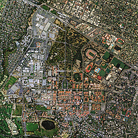 aerial photo map Stanford University, Palo Alto, California, 2011.  <br />