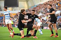 12th September 2021; Cbus Super Stadium, Robina, Queensland, Australia; Rugby International series, New Zealand versus Argentina:  Rieko Ioane celebrates as he scores a try.