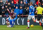 26.01.2020 Hearts v Rangers: Ryan Jack fouls Euan Henderson