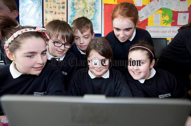Browsing the internet during computer class at Northampton National School. Photograph by Declan Monaghan