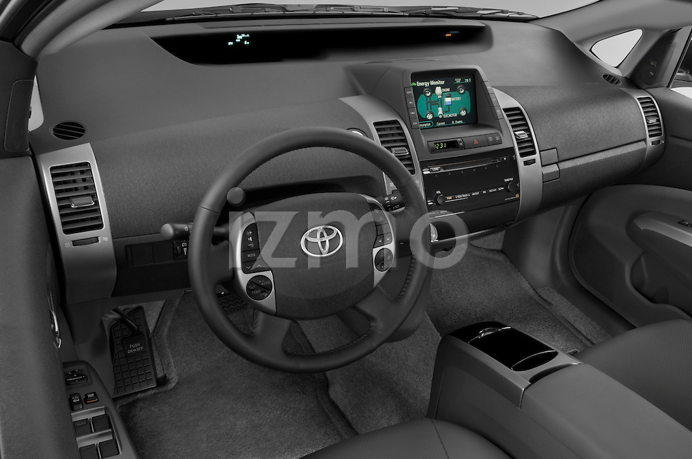 High angle dashboard view of a  2008 toyota prius touring