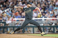Vanderbilt Commodores pitcher Tyler Brown (21) delivers a pitch to the plate against the Michigan Wolverines during Game 2 of the NCAA College World Series Finals on June 25, 2019 at TD Ameritrade Park in Omaha, Nebraska. Vanderbilt defeated Michigan 4-1. (Andrew Woolley/Four Seam Images)