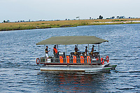 Africa, Botswana, Kasane, Chobe Game Lodge, Chobe National Park. Announcement of the new solar powered electric safari game viewing vehicle and boat that will start the fleet at Chobe Game Lodge. The new boat.