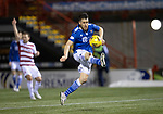 Hamilton Accies v St Johnstone …03.03.21   Fountain of Youth Stadium   SPFL<br />Guy Melamed controls the ball before puitting the ball past Ryan Fulton to scores his goal<br />Picture by Graeme Hart.<br />Copyright Perthshire Picture Agency<br />Tel: 01738 623350  Mobile: 07990 594431