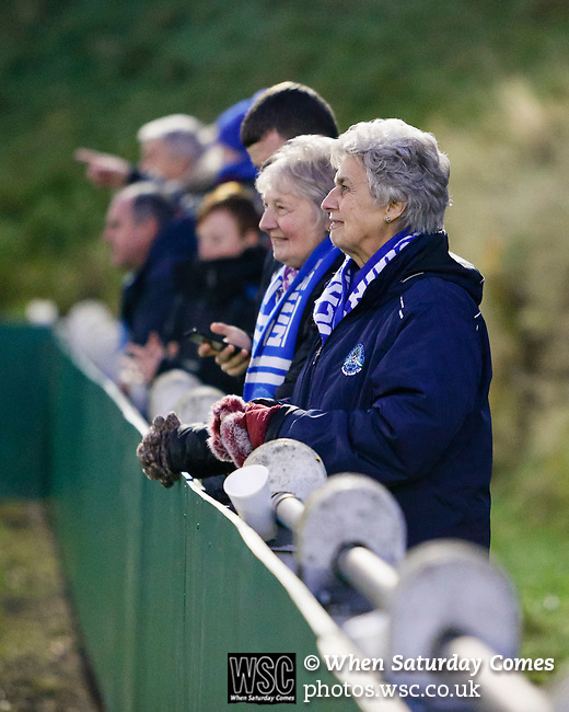 Pickering fans watching the game. Stocksbridge Park Steels v Pickering Town,  Evo-Stik East Division, 17th November 2018. Stocksbridge Park Steels were born from the works team of the local British Steel plant that dominates the town north of Sheffield.<br /> Having missed out on promotion via the play offs in the previous season, Stocksbridge were hovering above the relegation zone in Northern Premier League Division One East, as they lost 0-2 to Pickering Town. Stocksbridge finished the season in 13th place.