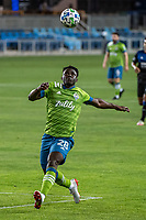 SAN JOSE, CA - OCTOBER 18: Yeimar Gomez Andrade #28 of the Seattle Sounders heads the ball during a game between Seattle Sounders FC and San Jose Earthquakes at Earthquakes Stadium on October 18, 2020 in San Jose, California.