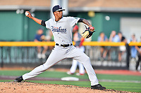 Pulaski Yankees starting pitcher Luis Medina (30) delivers a pitch during a game against the Johnson City Cardinals at TVA Credit Union Ballpark on July 7, 2018 in Johnson City, Tennessee. The Cardinals defeated the Yankees 7-3. (Tony Farlow/Four Seam Images)