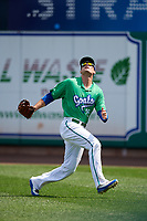 Hartford Yard Goats right fielder Sam Hilliard (25) tracks a fly ball during a game against the Trenton Thunder on August 26, 2018 at Dunkin' Donuts Park in Hartford, Connecticut.  Trenton defeated Hartford 8-3.  (Mike Janes/Four Seam Images)
