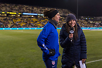 COLUMBUS, OH - NOVEMBER 07: Carli Lloyd #10 of the United States talks to Alex Curry during a game between Sweden and USWNT at Mapfre Stadium on November 07, 2019 in Columbus, Ohio.