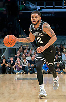 WASHINGTON, DC - FEBRUARY 19: Luwane Pipkins #12 of Providence on the attack during a game between Providence and Georgetown at Capital One Arena on February 19, 2020 in Washington, DC.