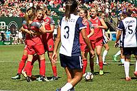 Portland, OR - Saturday September 02, 2017: Nadia Nadim  , Portland Thorns FC celebrate during a regular season National Women's Soccer League (NWSL) match between the Portland Thorns FC and the Washington Spirit at Providence Park.