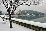 Downtown view of Coeur D Alene Idaho winter