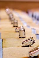 glass bung stopper on barrel fermenting must white wine chateau fieuzal pessac leognan graves bordeaux france