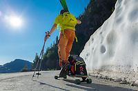 Using the skateboard on a road closed to public, Pointe de la Terrasse, Switzerland, 24 June 2020.