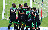 MEDELLIN - COLOMBIA, 02-05-2021: Jugadores de Equidad celebran después de anotar el primer gol durante partido por los cuartos de final vuelta de la Liga BetPlay DIMAYOR I 2021 entre Atlético Nacional y La Equidad jugado en el estadio Atanasio Girardot de la ciudad de Medellín. / Players of Equidad celebrate after scoring the first goal during match for the quarterfinal second leg as part of BetPlay DIMAYOR League I 2021 between Atletico Nacional and La Equidad played at Atanasio Girardot stadium in Medellín city. Photo: VizzorImage / Luis Benavides / Cont
