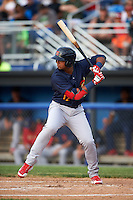 State College Spikes right fielder Ricardo Bautista (12) at bat during a game against the Batavia Muckdogs on June 22, 2016 at Dwyer Stadium in Batavia, New York.  State College defeated Batavia 11-1.  (Mike Janes/Four Seam Images)