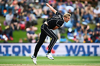 20th March 2021; Dunedin, New Zealand;  Kyle Jamieson bowls during the New Zealand Black Caps v Bangladesh International one day cricket match. University Oval, Dunedin.