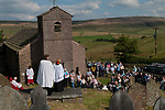 Rushbearing church service Macclesfield Forest, at St Stephens Church, Forest Chapel, Cheshire, UK.  2017. The Revd Steve Rathbone andReverend Norma Robinson Associate Vicar of St John's Macclesfield, who was the guest preacher.