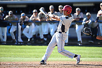 Jared Akins (40) of the Fresno State Bulldogs bats against the Pepperdine Waves at Eddy D. Field Stadium on March 7, 2017 in Los Angeles, California. Pepperdine defeated Fresno State, 8-7. (Larry Goren/Four Seam Images)