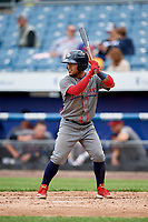 Lehigh Valley IronPigs second baseman Alexi Amarista (2) at bat during a game against the Syracuse Chiefs on May 20, 2018 at NBT Bank Stadium in Syracuse, New York.  Lehigh Valley defeated Syracuse 5-2.  (Mike Janes/Four Seam Images)