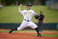Montgomery Biscuits pitcher Austin Pruitt (27) delivers a pitch during a game against the Tennessee Smokies on May 25, 2015 at Riverwalk Stadium in Montgomery, Alabama.  Tennessee defeated Montgomery 6-3 as the game was called after eight innings due to rain.  (Mike Janes/Four Seam Images)