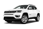 Stock pictures of low aggressive front three quarter view of a 2018 Jeep Compass Latitude 5 Door SUV